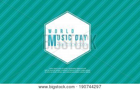World music day celebration style background vector flat