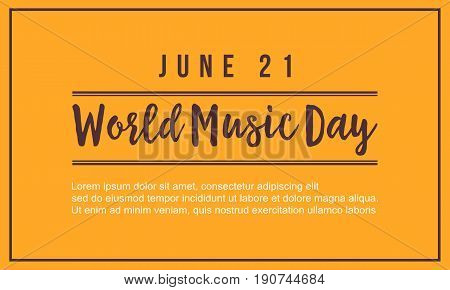 World music day vector flat background style collection