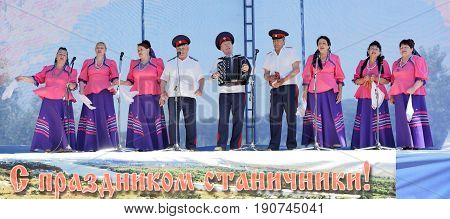 RazdorskayaRostov Region Russia- June 04; 2017: Group of elderly Cossacks singing at the Trinity