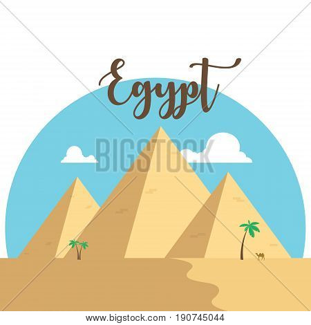 Egypt flat design pyramids. Desert famous ancient camel palms with lettering