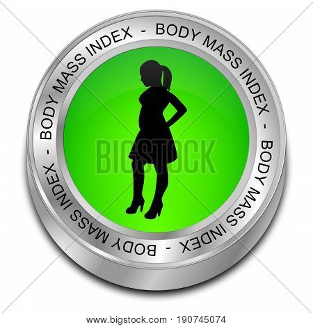 green Body Mass Index Button - 3D illustration