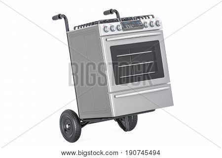 Appliance delivery. Hand truck with gas stove 3D rendering isolated on white background