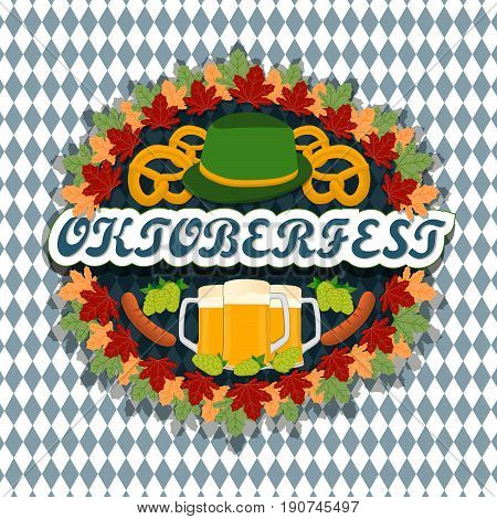 Vector logo for bar banner oktoberfest pub during the festival beer mug glass with foam filled to the brim octoberfest pubs.Oktoberfest Bavarian pattern Germany flag,celebration holiday oktoberfests.