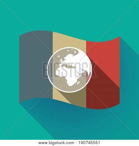 Long Shadow France Flag With   An Asia, Africa And Europe Regions World Globe