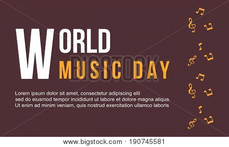 Background world music day collection style vector art