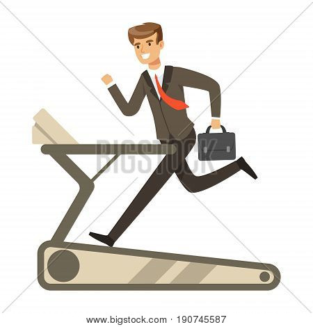 Businessman running on a treadmill vector Illustration isolated on a white background