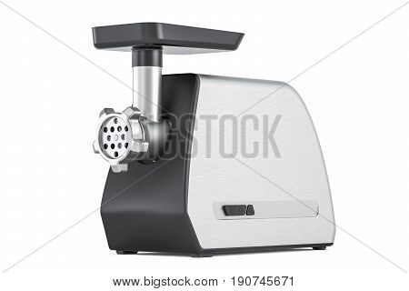 Steel electric meat grinder 3D rendering isolated on white background