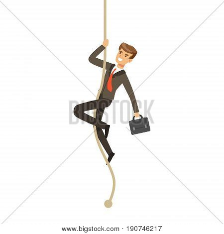 Smiling businessman with briefcase climbing a rope vector Illustration isolated on a white background