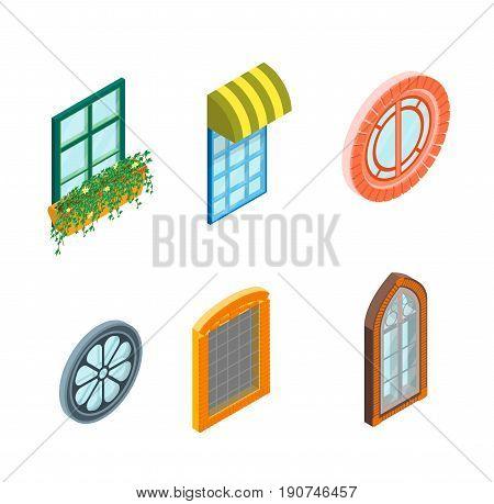 Glass Windows Set Isometric View Decoration Building Construction Element Urban Street Design Style. Vector illustration