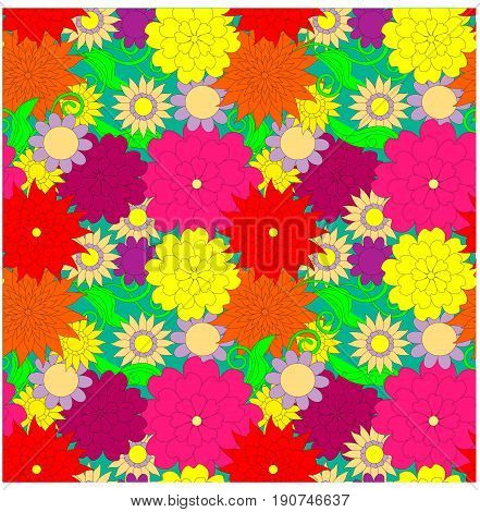 Seamless bright colorful floral pattern stock vector illustration