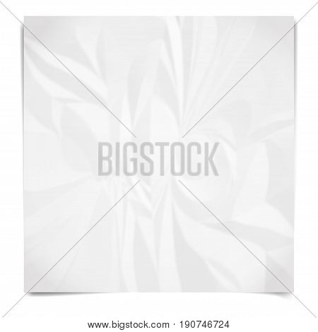 Realistic white sheet of crumpled paper. Wrinkled paper texture. Template background for your text. Vector illustration