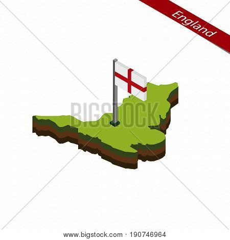 England Isometric Map And Flag. Vector Illustration.