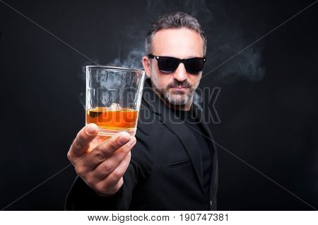 Handsome Rich Guy Inviting You To Drink Scotch