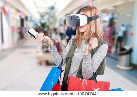 Female Shopper Experiencing Virtual Reality Equipment Video