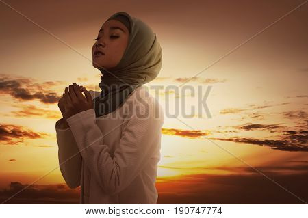 Beautiful Asian Muslim Woman In Veil Praying To God