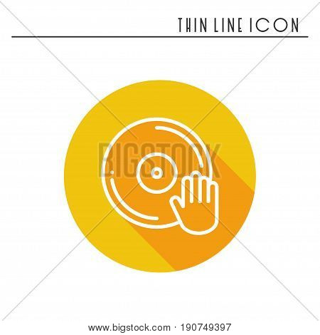 DJ disk jockey turntable icon. Vinyl record disco dance nightlife club. Party celebration birthday holidays event carnival festive. Line party element icon. Vector linear design. Illustration symbols