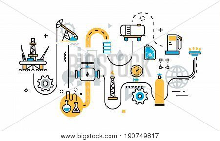 Flat line illustration concept of graph plan scheme mechanism algorithm step of oil and gas production industry process petroleum product extraction valving oil well pump for website banner
