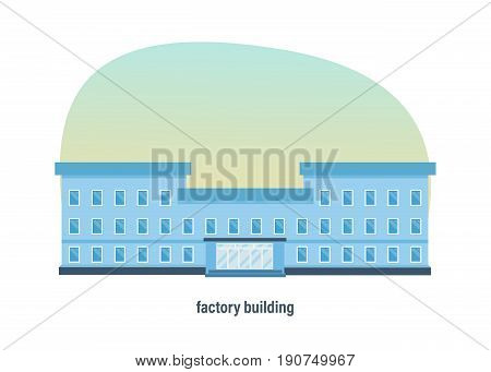 Industrial industrial three-story factory building, colorful exterior of the facade. Modern vector illustration isolated on white background.