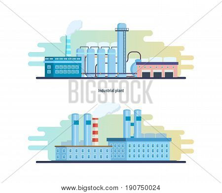 Buildings of an industrial and chemical plants, stations and reactors, power lines and resource work, laboratory. Industrial factory building. Modern vector illustration isolated on white background.