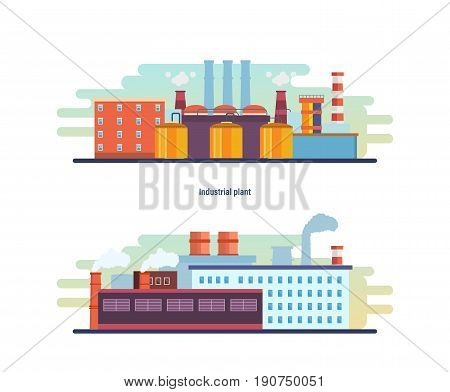 Buildings of an industrial and helium plant, stations and reactors, power lines and resource work, laboratory. Industrial factory building. Modern vector illustration isolated on white background.