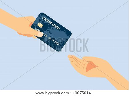 Hand giving a credit card to other hand. Illustration about quickly payment.