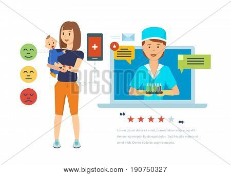 Concept of online doctor. Online consultations of child's doctor, diagnosis of diseases, familiarization with patient complaints, remote maintenance, advice, appointment. Vector illustration isolated.