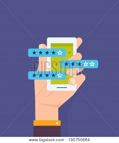 Review of the rating, statistics of application, performance evaluation, reviews with good and bad ratings, bubble speeches, hand holds the smartphone. Vector illustration isolated in cartoon style.
