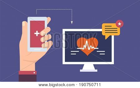 Heart rate indicator on the mobile phone screen, current activity and the body pulse counter, health health indicators as an application on the mobile phone. Illustration isolated in cartoon style.
