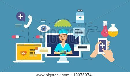 Laboratory research, online consultations, modern medicine, data research and diagnosis, communication, medications. Vector illustration isolated in cartoon style.