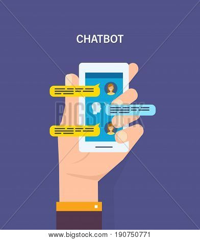 Person chatting on cellphone with woman. Chatting with chatbot on phone. Chat messages notification on smartphone. Vector illustration isolated in cartoon style.