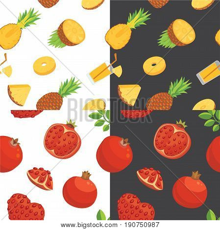 Fresh pomegranates and pineaples hand drawn background. Doodle wallpaper vector.
