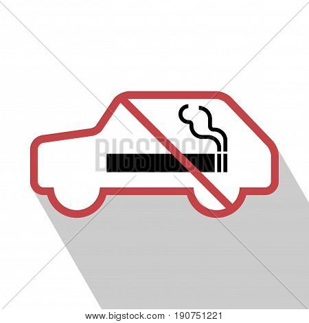 No smoking sign in the car. vector illustration. All in a single layer. No smoking Sign Elements for design. No smoking Sign with Long Shadow.
