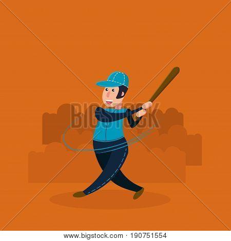 Baseball player - batter. Flat vector illustration in cartoon style