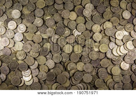 Background of coins. Many coins. Russian ruble