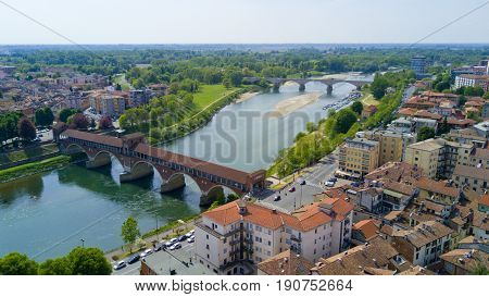Aerial shooting with drone on Pavia, famous Lombardia city near the Ticino river in northern Italy