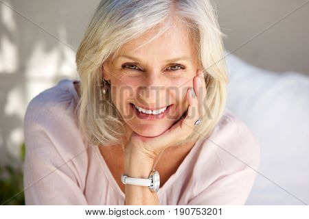 Close Up Mature Woman Smiling Outside