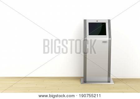 3D illustration of digital information kiosk, front view