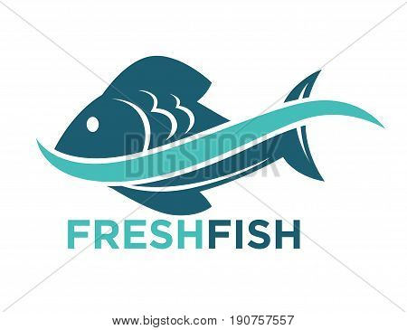 Fresh fish in water wave logotype in blue color isolated on white. Vector colorful graphic illustration in flat design of badge presenting company dealing with sea or river animal origin products