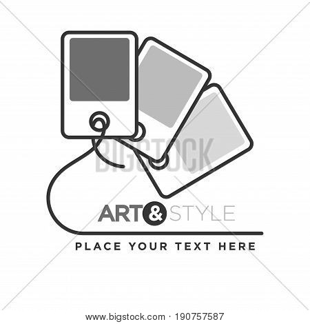 Art and style company colorless logotype with paper samples connected by thin line with place for text information below. Vector illustration in flat design of creative label with special palette