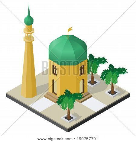Temple minaret and palm trees in isometric view.
