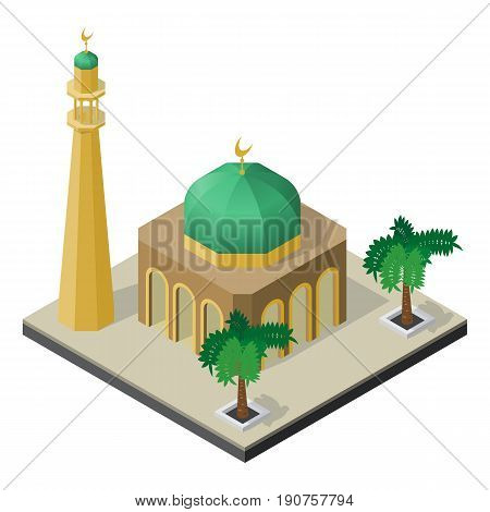 Mosque minaret and palm trees in isometric view.