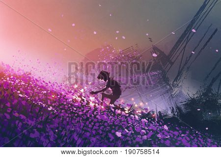 the robot sitting on purple field playing with glowing butterflies digital art style, illustration painting