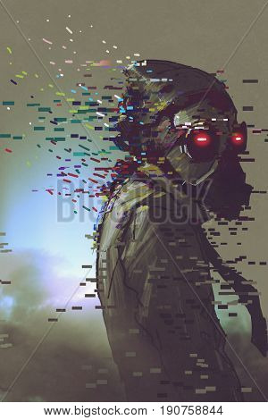 the man cyborg in a futuristic mask with glitch effect digital art style, illustration painting