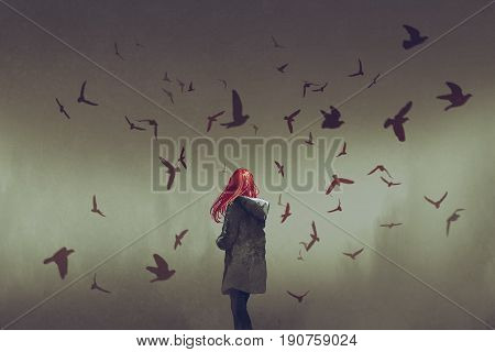the woman with red hair standing among birds digital art style, illustration painting