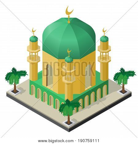 Mosque with minarets and palm trees in isometric view.