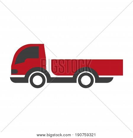 Vector illustration of red and black colored lorry isolated on white.