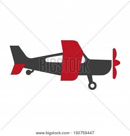 Vector illustration of side view of red and white colored small aeroplane isolated on white.
