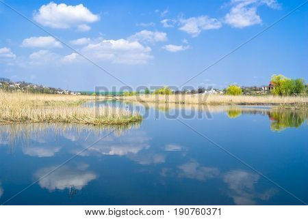 Spring landscape with river and blue cloudy sky.