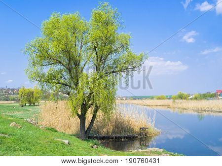 Ukrainian spring landscape - river with a quiet place for fishing.