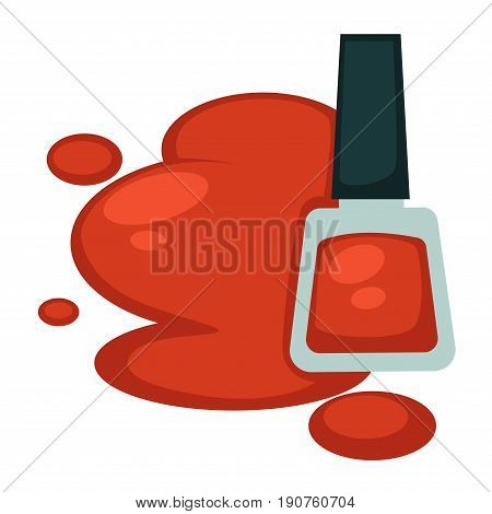 Red nail polish in bottle and its sample spot nearby vector illustration in flat design. Cosmetic mean for polishing fingernails and toenails and making them colorful. Beauty kind for women.